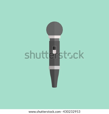 Microphone design flat isolated icon, vintage microphone stand, sound media, record vocal musical web broadcasting microphone vector illustration - stock vector