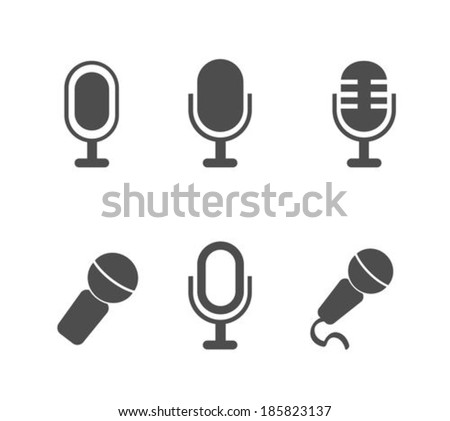 Microphone flat icons set - stock vector