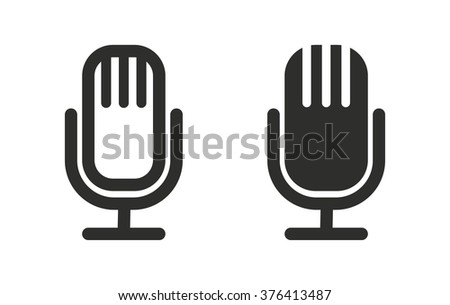 Microphone  icon  on white background. Vector illustration. - stock vector