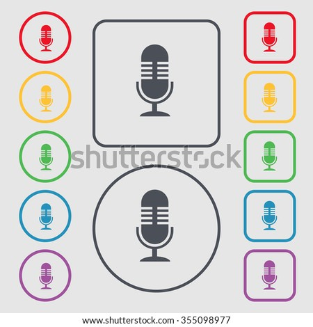 microphone icon sign. symbol on the Round and square buttons with frame. Vector illustration - stock vector
