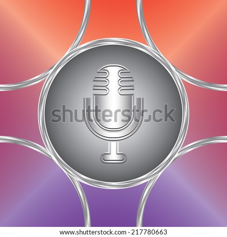 Microphone icon. Vector button. Colorful background. Original design               - stock vector