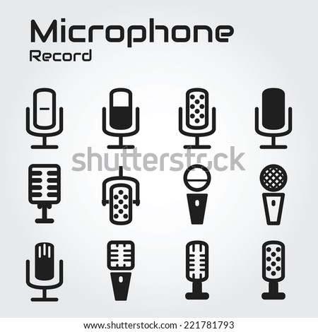 Microphone icons - stock vector
