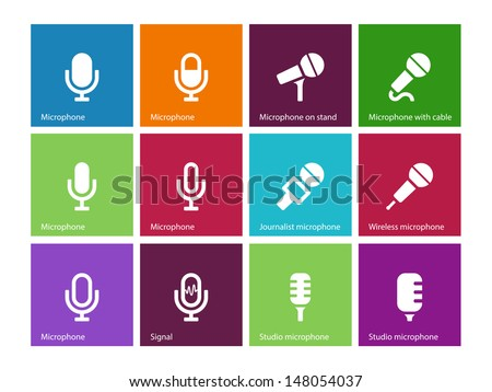 Microphone icons on color background. Vector illustration. - stock vector