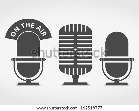 Microphone icons set, vector eps10 illustration - stock vector