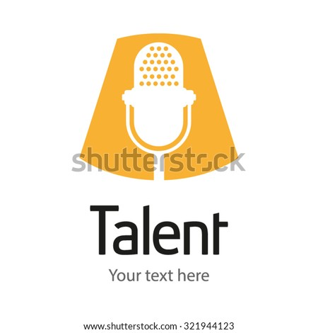 microphone logo template vintage vector - stock vector