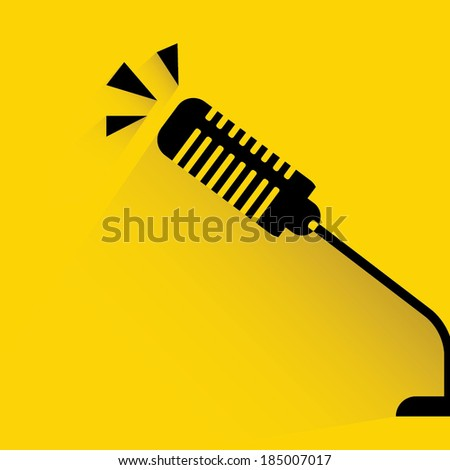 microphone on yellow background - stock vector