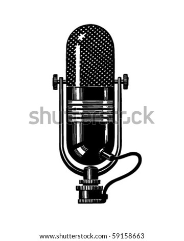 Microphone 2 - Retro Clip Art - stock vector