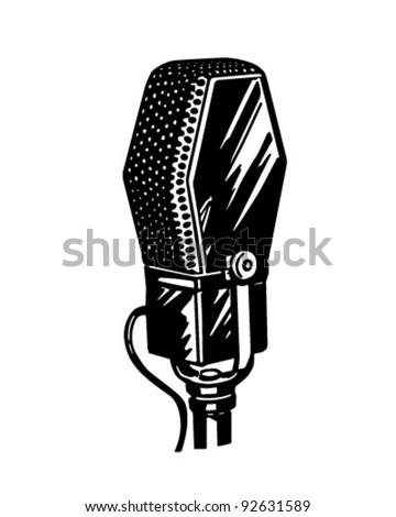 Microphone 3 - Retro Clipart Illustration - stock vector
