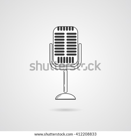 Microphone Retro Grey Vector Icon with shadow. Simple element for your projects. Retro Microphone Flat Icon. - stock vector