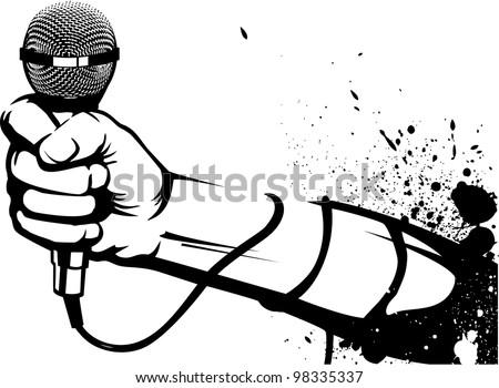 Microphone Stencil - stock vector