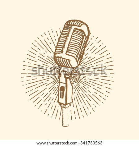 Microphone. Vintage style, hand drawn pen and ink.  Vector clip art. Retro design element for electronics store packaging, studio, disco or karaoke club, or t-shirt design - stock vector