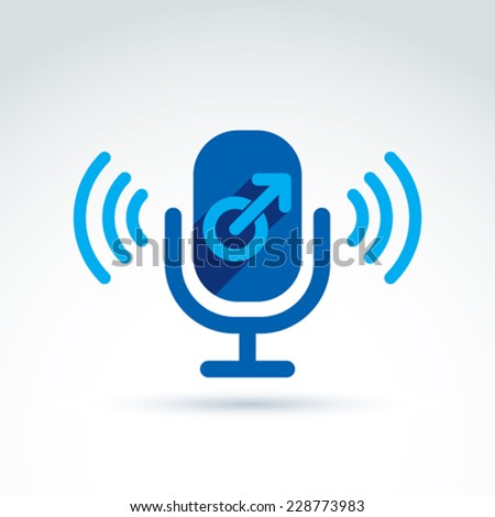 Microphone with a blue male sign and signal symbol, male gender symbol. Gay or man club conceptual icon, man song, podcast icon. - stock vector
