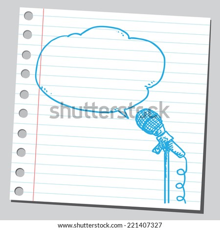 Microphone with comic bubble - stock vector