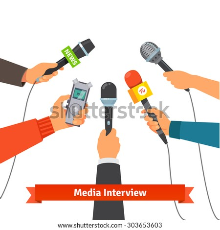 Microphones and voice recorder in hands of reporters on press conference or interview. Journalism concept. Flat style vector illustration isolated on white background. - stock vector