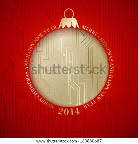 Microprocessor circuitry christmas design. Vector illustration. - stock vector