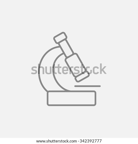 Microscope line icon for web, mobile and infographics. Vector dark grey icon isolated on light grey background. - stock vector