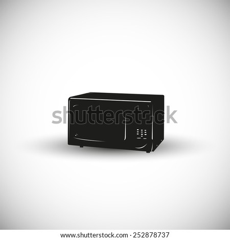 Microwave oven illustration - 3d view design. - stock vector