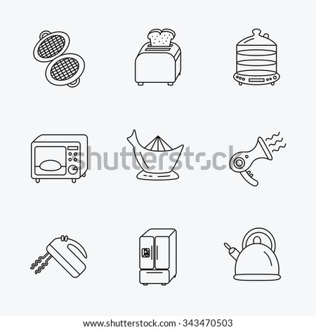 Microwave oven, teapot and blender icons. Refrigerator fridge, juicer and toaster linear signs. Hair dryer, steamer and waffle-iron icons. Linear black icons on white background. - stock vector