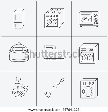 Microwave oven, washing machine and blender icons. Refrigerator fridge, dishwasher and multicooker linear signs. Coffee icon. Linear icons on white background. Vector - stock vector