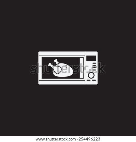 Microwave with chicken vector icon. Roast chicken symbol. - stock vector