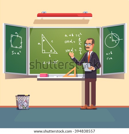 Mid age teacher with glasses and mustache giving a trigonometry lecture on a chalkboard. Flat style color modern vector illustration. - stock vector