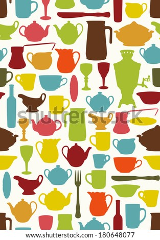 Mid century tableware silhouettes on white background - stock vector