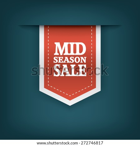 Mid season sale ribbon elements for online shopping and your products. E-shop icon bookmark with text. Eps10 vector illustration. - stock vector