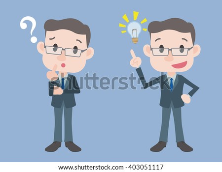 middle aged business person character, posing question and inspiration, vector illustration - stock vector
