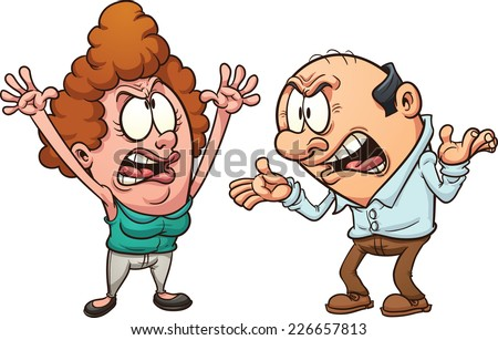 Middle aged couple arguing. Vector clip art illustration with simple gradients. Each on a separate layer. - stock vector