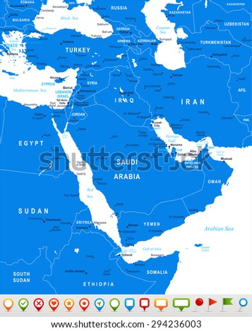 Middle East and Asia - map and navigation icons - illustration  - stock vector