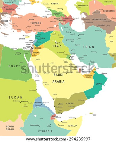 Middle East and Asia - map - illustration - stock vector