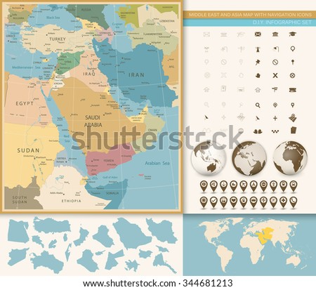 Middle East And West Asia Map Vintage Colors with Navigation Icons - stock vector