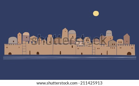 Middle East, Old Town , Vector Illustration, Abstract - stock vector