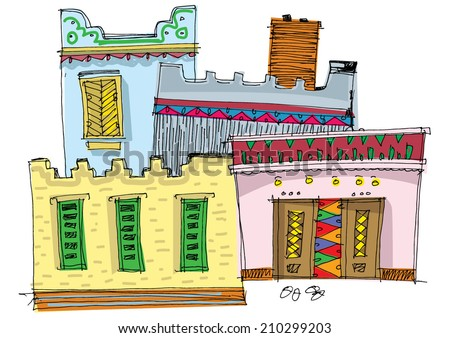 Middle East traditional facade - cartoon - stock vector