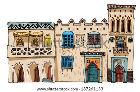 Middle East vintage facades - cartoon - stock vector