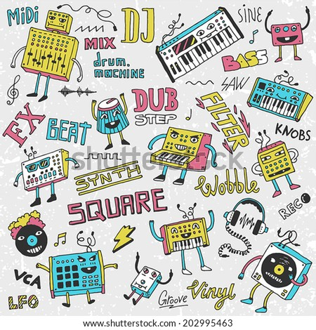 Midi controllers synthesizers doodles. Contemporary electronic music set. Hand drawn vector illustration. - stock vector