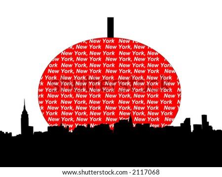 Midtown manhattan New York City skyline against big apple illustration - stock vector