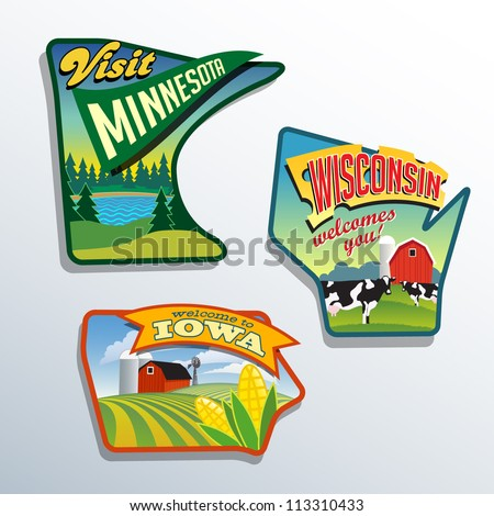 Midwest United States Minnesota Wisconsin Iowa vector illustrations designs - stock vector