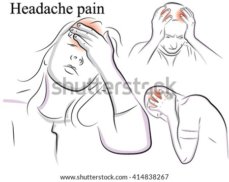 Migraine and headache pain. Drawn by hand scribble black and white cartoon vector. Migraine and headache pain.  - stock vector