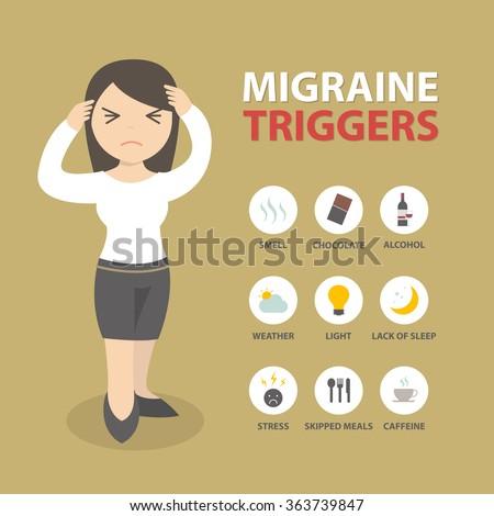 Migraine triggers headache infographic flat design vector - stock vector