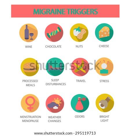 Migraine triggers.Symbols set. - stock vector
