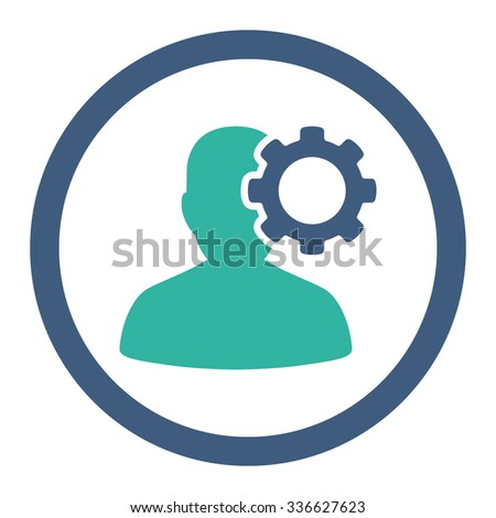 Migraine vector icon. Style is bicolor flat rounded symbol, cobalt and cyan colors, rounded angles, white background. - stock vector