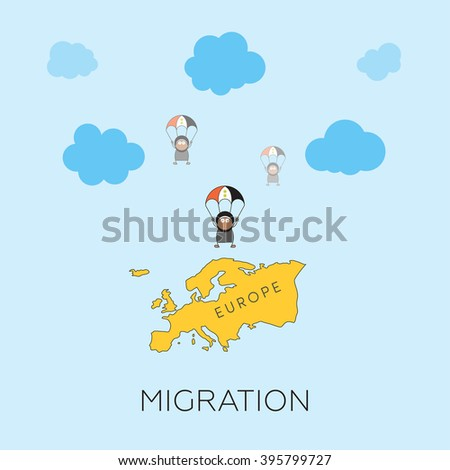 Migration concept. Cartoon vector illustration of three Syrian skydivers jumping into Europe. Refugees in European Union.  - stock vector