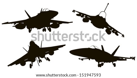 Military aircraft  silhouettes  collection. Vector EPS 8 - stock vector