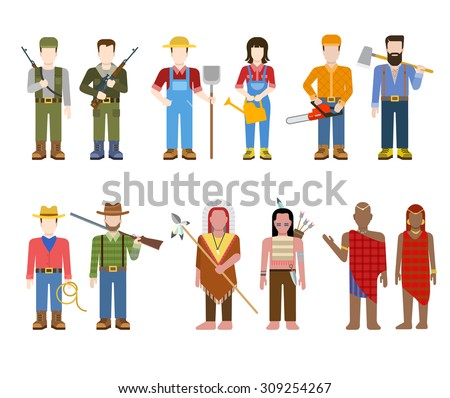 Military army officer commander Indian cowboy farmer builder lumberjack hunter Brahmin people in uniform flat avatar user profile icon vector illustration set. Creative people collection. - stock vector