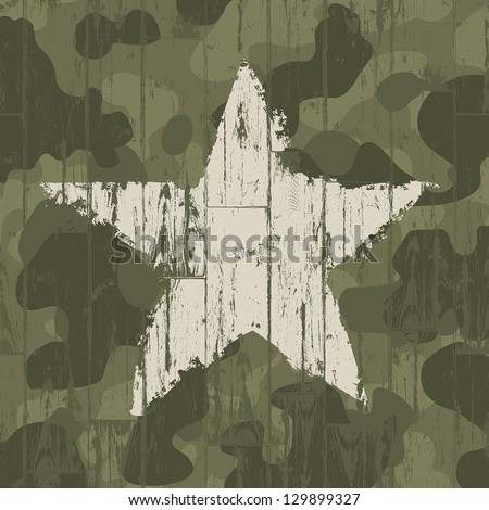 Military camouflage background with star. Vector, EPS10. - stock vector