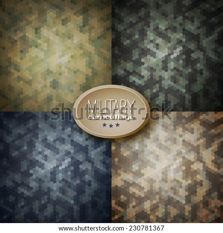 Military camouflage backgrounds (jungle, woodland, blueberries, desert storm), vector illustrations - stock vector