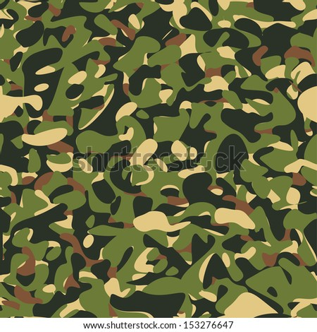 Military camouflage green pattern. Vector illustration - stock vector