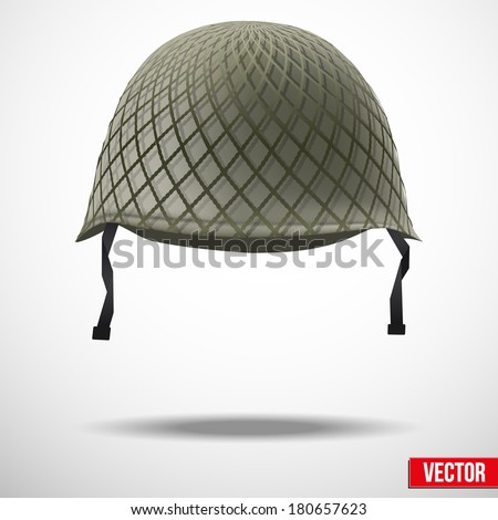 Military classic helmet green color. Vector illustration. Metallic army symbol of defense and protect. Isolated on white background. Editable. - stock vector