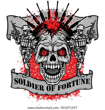 military coat of arms with skull and, grunge.vintage design t-shirts - stock vector